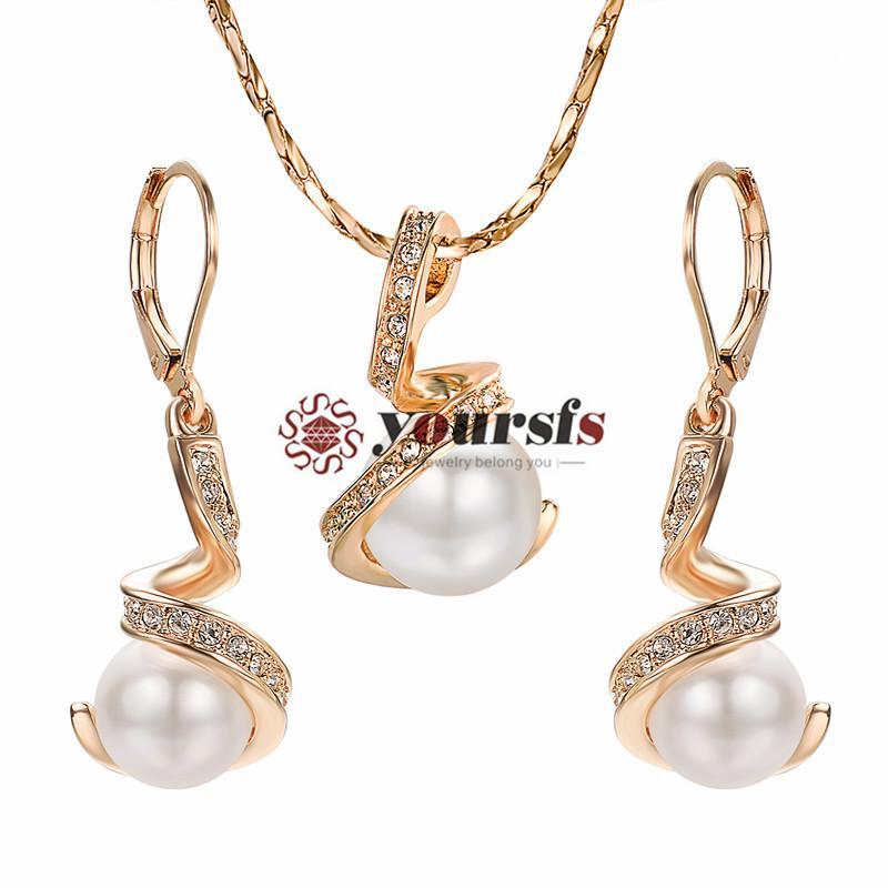 YESTSFS 18 K Vergulde elegante gedraaide parel ketting en oorbellen bruids sieraden set