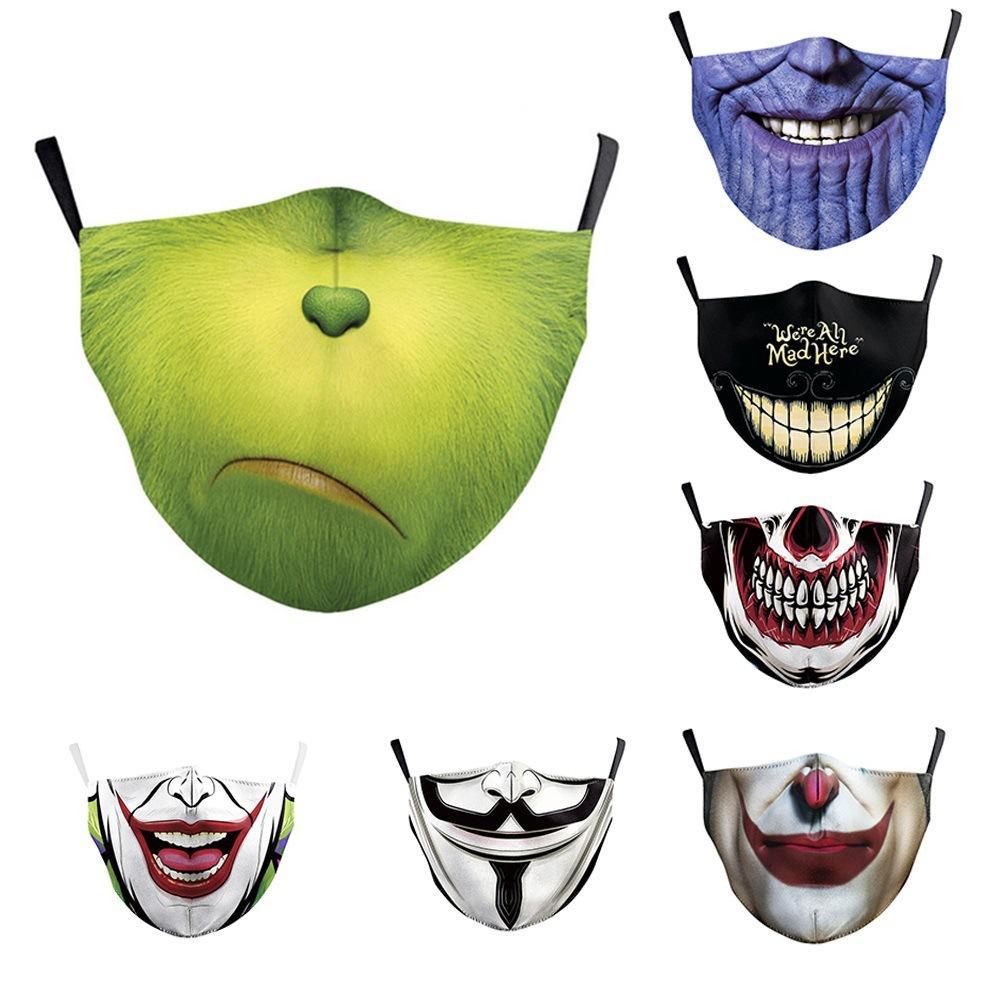 10pcs em um monte de poeira máscara New Hot-Selling Digital Printing protecção ajustável Máscara de Filtro Máscara Elemento Smog Childrens Adulto