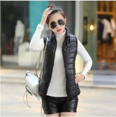 Nuevos 1TGgM 's estilo de las mujeres ocasionales del chaleco de cuello alto de color chaleco de las mujeres de Corea del algodón de seda sólidas