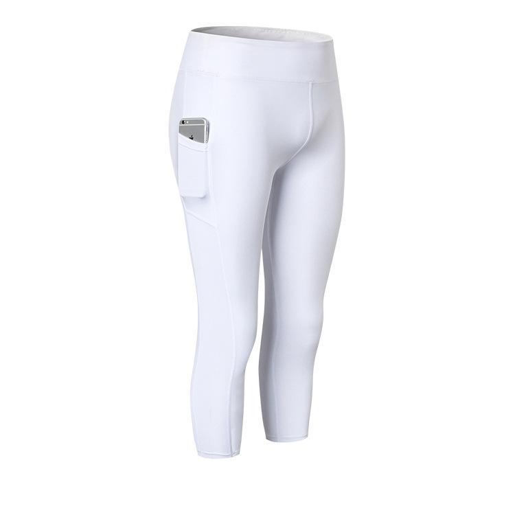 2020 Новый стиль Европа и Америка Женский Инклайн Карманный Йога обрезанные брюки Фитнес Бег Эластичность Tight-Fit быстросохнущие WIC
