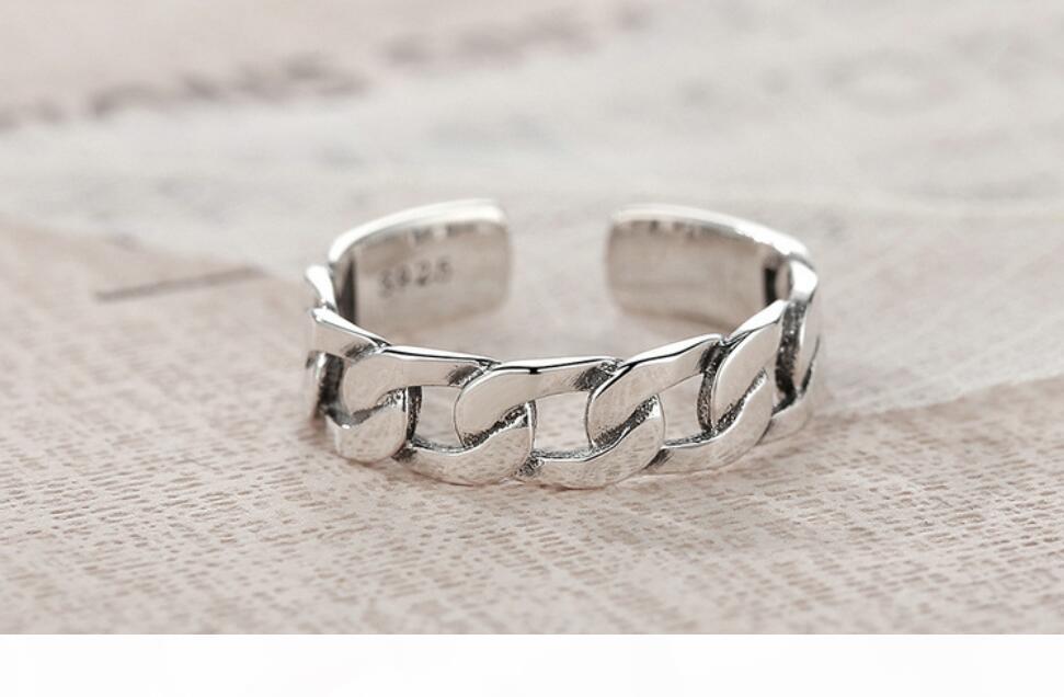 D S925 Hollow Out Zinciri Açık Halka Kadınlar Erkekler Basit Kişilik Nişan yüzükleri Aşıklar Gümüş Yüzük Brithday Hediye 2020 Güzel Yahudi