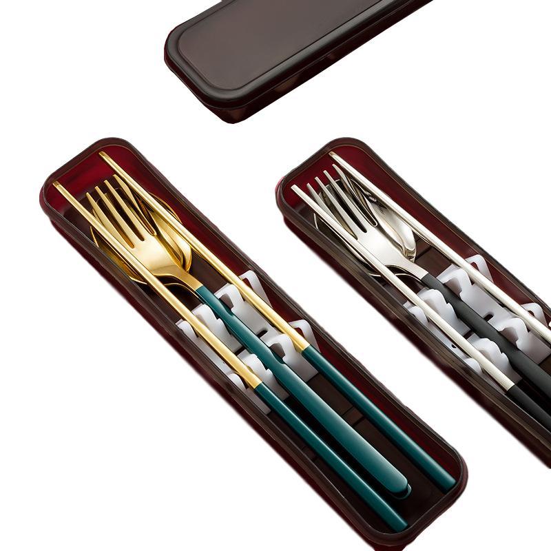 Aço inoxidável portátil Tableware Set Chopsticks Colher Garfo de três peças Set Os estudantes do trabalhador de escritório Louça Com Caixa de armazenamento
