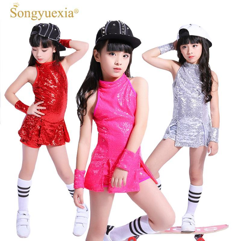 어린이 치어 리딩 성능 의상 드레스 아동 4XL에 대한 SONGYUEXIA 여자 재즈 댄스 세트 무대 드레스 힙합 정장