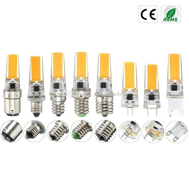 100PCS / LOT LED dimmerabili G4 G8 G9 BA15D E12 E14 E17 220V 110V Mini lampadina silicone luci di cristallo Lampadario Faretto alogeno Macchina da cucire