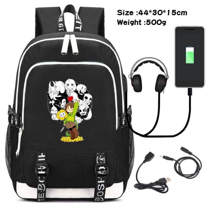 Game Undertale Sans Cosplay Backpack Student School Shoulder Bag Laptop Travel Rucksack