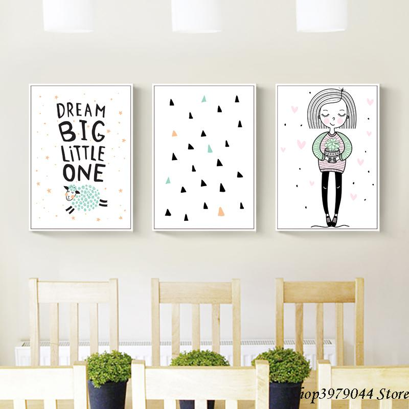 "Girls Bedroom /""Dream Big/"" Print Pinks Scandi Style Picture for Nursery"