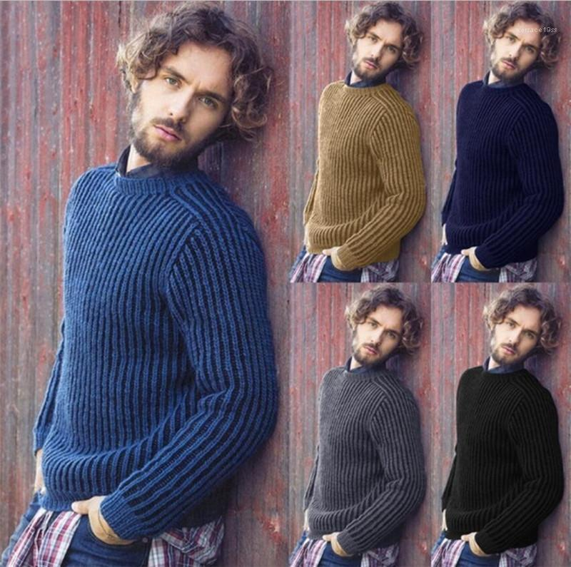 Couleur Pulls O-cou Automne Hommes Pulls Styliste Slim Fit Manches longues Hauts Rib Point solide
