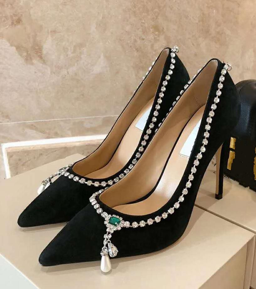High end quality in 2020 Black Velvet Point-Toe Pumps with Crystal Mix Necklace Detail Dress Shoes Size 35 To 40