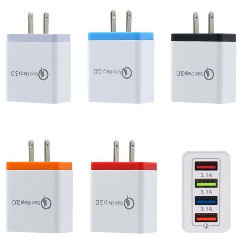 QC3.0 4 포트 USB 벽 충전기 5V 3A 유럽 연합 (EU) 미국 플러그는 빠른 여행 어댑터 삼성 S8 Note10 LG 충전
