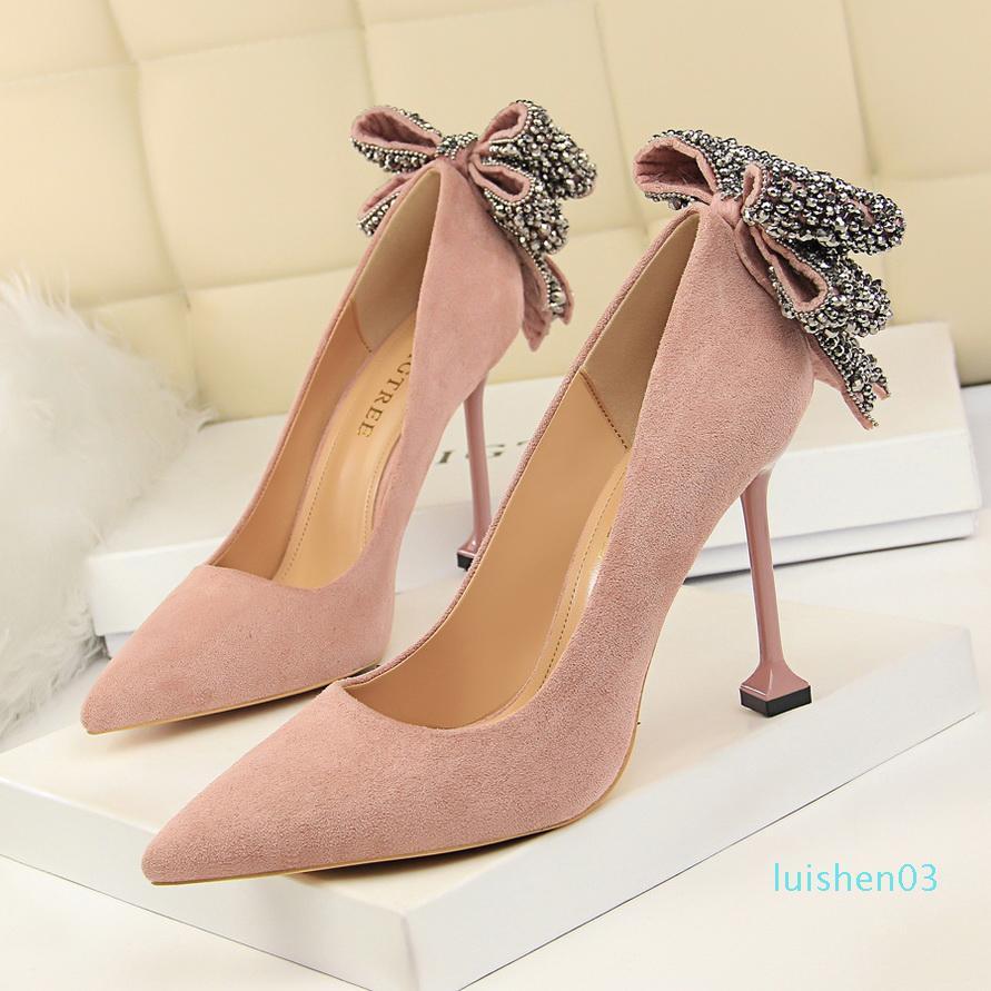 Glitter rhinestone bowtie pointy shoes designer pumps bridal wedding shoes size 34 to 40 l03