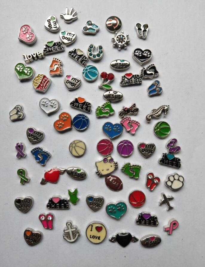 Floating lockets Charms Enamel Footprints Hearts Hands Vintage Silver For Glass Living Memory Floating Locket Mix Design Assorted Charms DIY