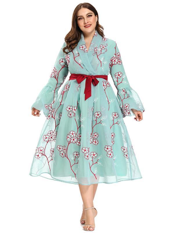 2020 Abaya Long Summer Femmes Robes manches papillon plus grande taille mode élégante fleur taille haute Jupettes Robe mi