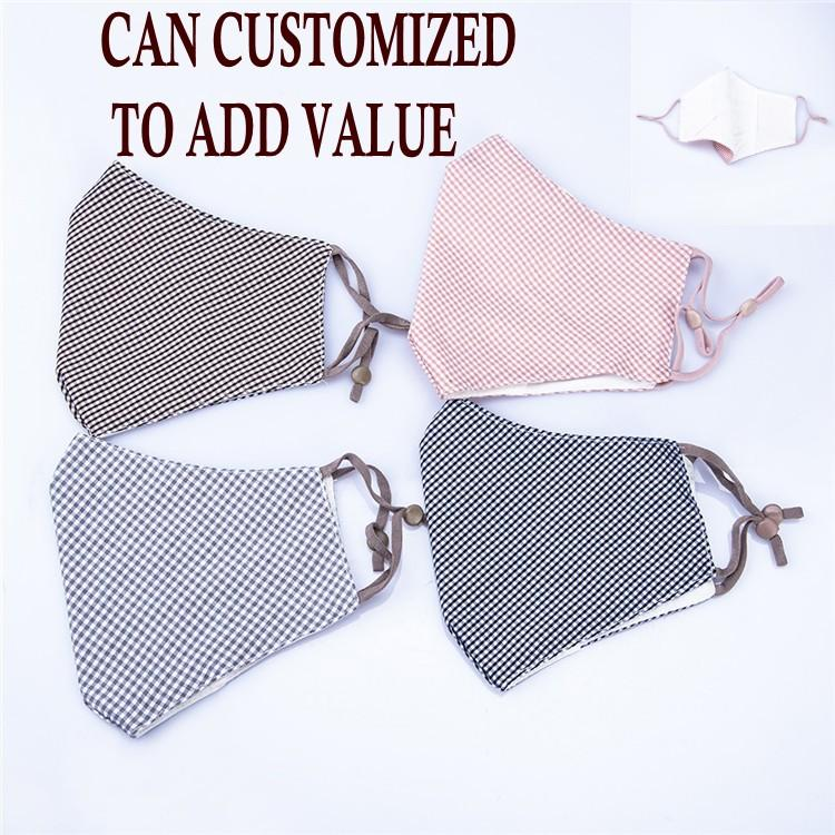 Reusable Washable Cotton Plaid Mouth Mask Adult 4 Layers Windproof Mouth-Muffle Adjustable Elastic Buckle Face Masks, Can Customized Value