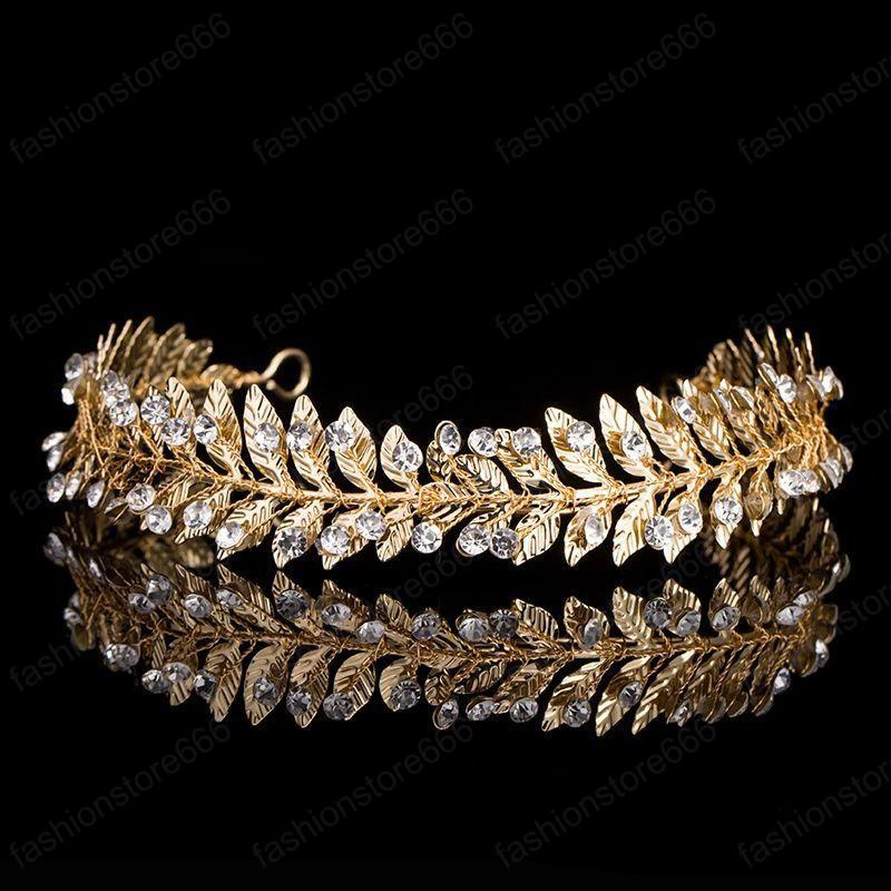 Мода Серебро Золото Металл Лист Корона Диадемы Rhinestone Свадебные головной убор Свадебные аксессуары для волос