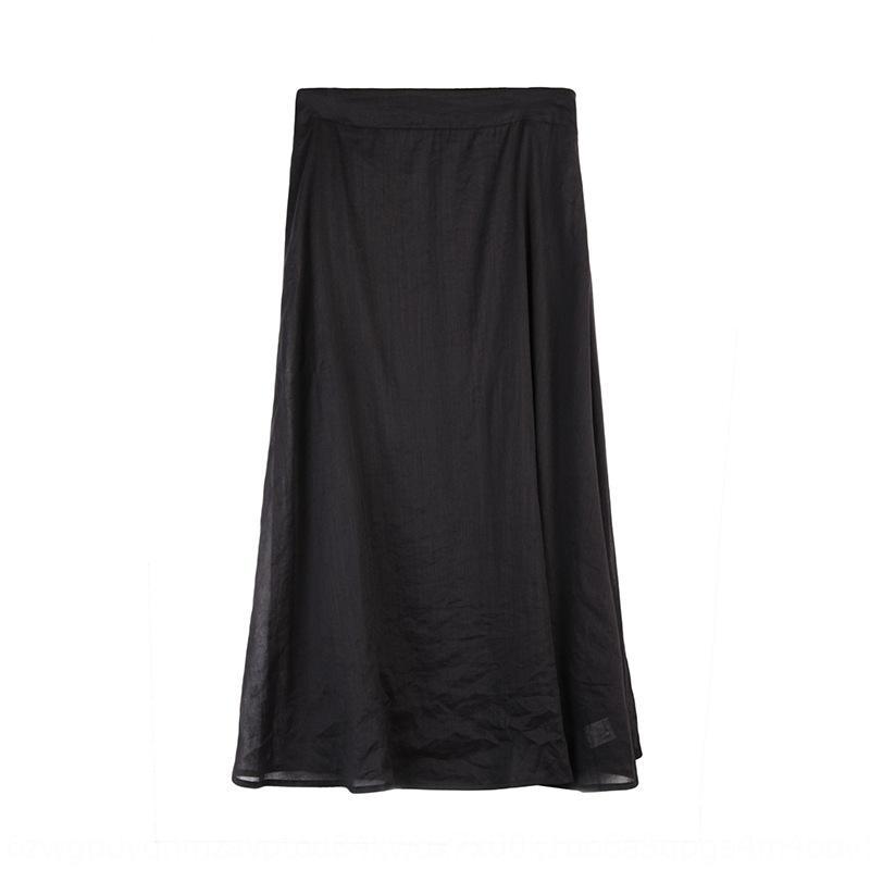 couleur mi-longueur pour Ramie jupe femmes bfood 2020 été nouveau style coréen haute ligne A taille solide robe élégante robe parapluie tout-mat 1AcoO