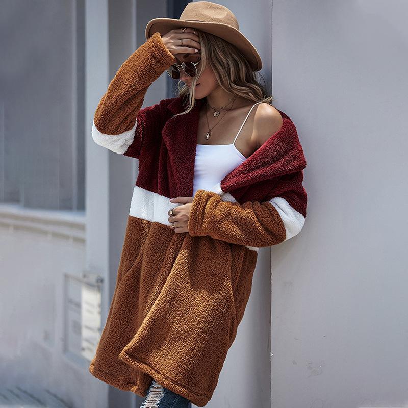 Элегантное искусственный мех Пальто женщин 2020 Осень Зима теплая мягкая норки Женская Плюшевая Шинель Карманная Повседневный Outwear Open Стич