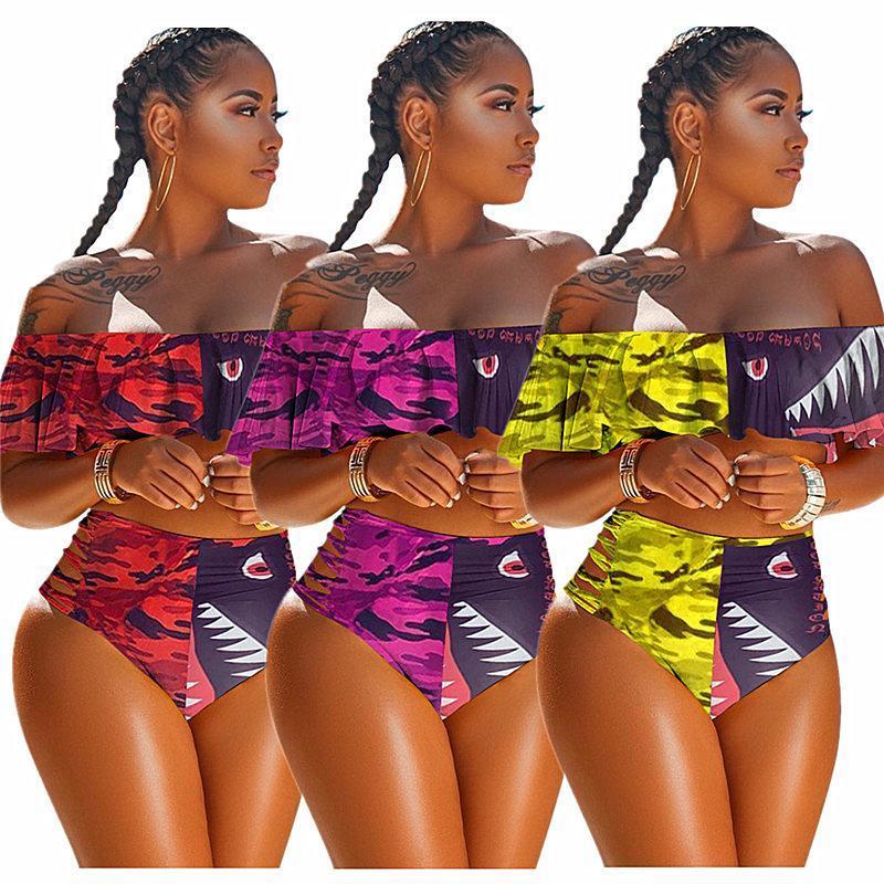 Mulheres Patchwork Swimsuit Strapless Bra Bikini Verão + Shorts Swimwear Tubarão dos desenhos animados Imprimir Alças Falbala Ruffle Sexy Swimsuits 2020