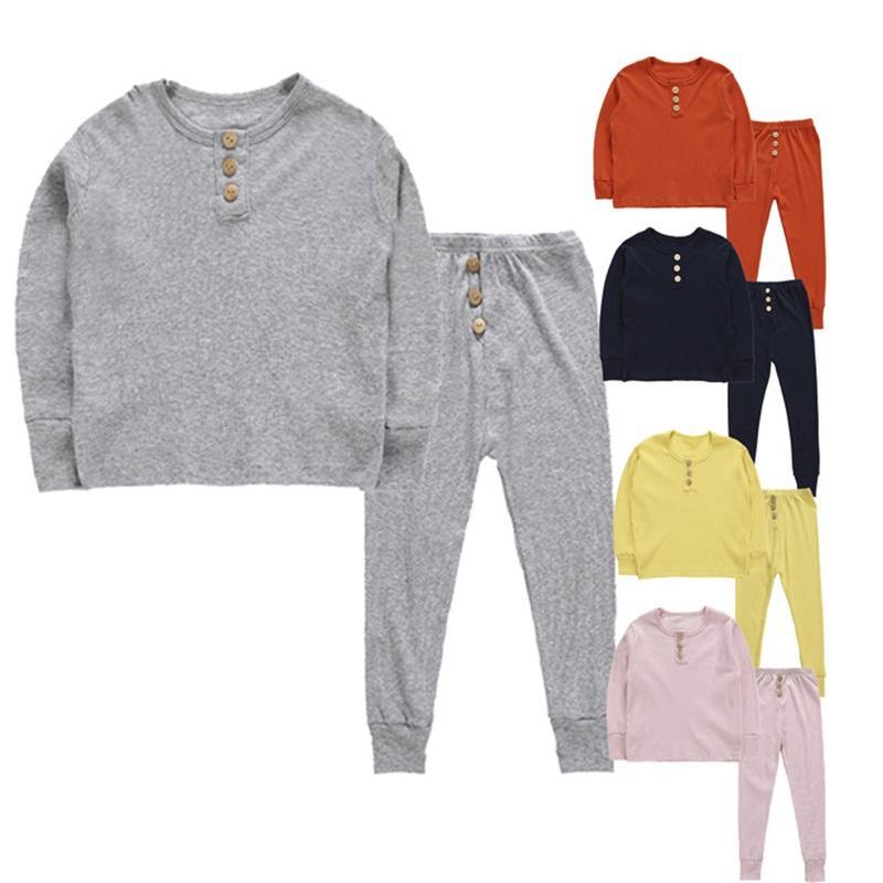 Çocuk Çocuk İç Giyim Elastik Uzun Kollu Pijama Pijama Düğmeler Setleri Sıcaklık underclothes ceketler pantolon Suit Renkli Skivvys 17ll C2 ayarlar