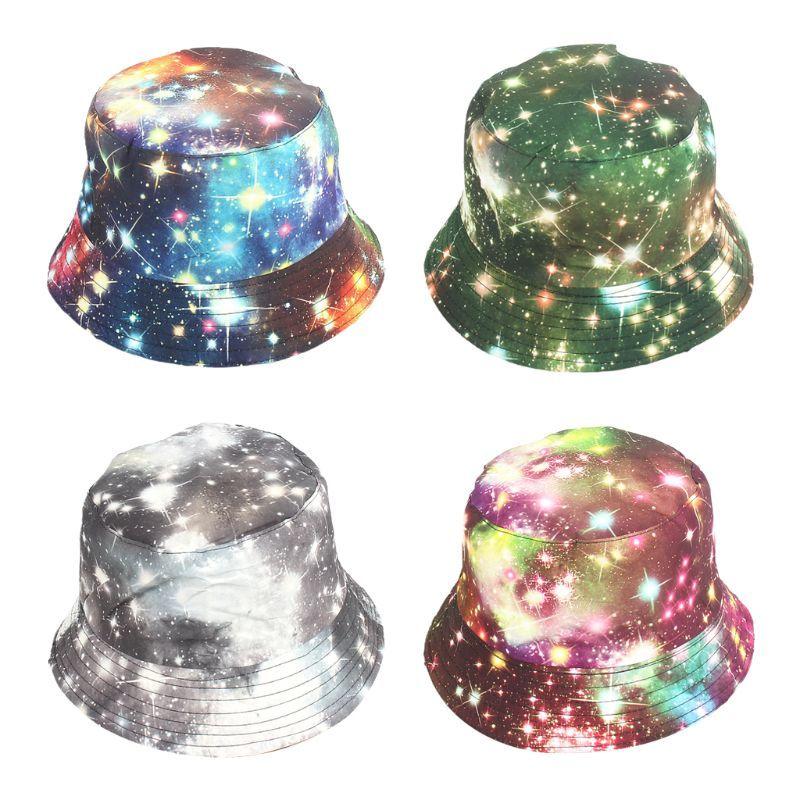 Cubo del cielo estrellado sombrero unisex verano Harajuku Imprimir gradiente del teñido anudado de la pintada de ala ancha de protección solar al aire libre plegable Cap Pescador