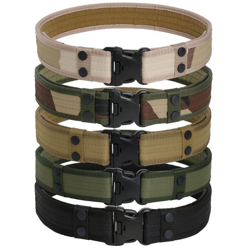 Tactical Esporte Cinto com plásticos do exército fivela ajustável Unisex Sponge exterior Fan Belt gancho laço Cintura