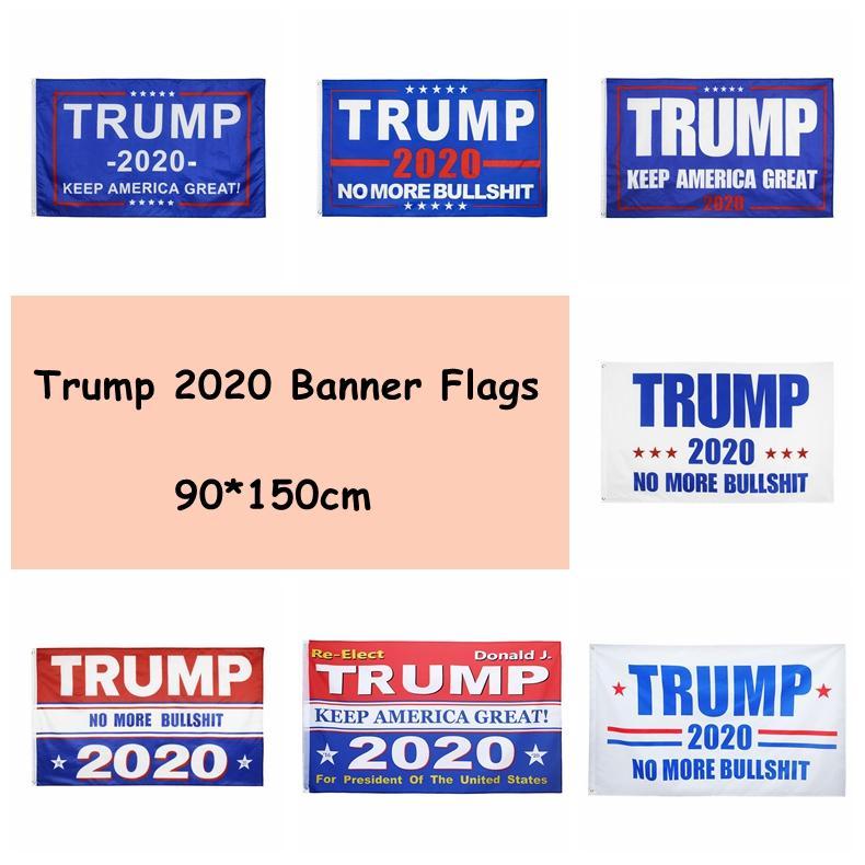 ترامب 2020 أعلام راية 90 * 150CM دونالد ترامب الاحتفاظ جعل أميركا العلم العظيم 7 أنماط ترامب حزب راية 60PCS أعلام CCA12308