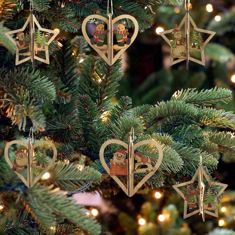 1 / 2Pc 3D Père Noël Forme étoilée Décorations d'arbre de Noël en bois de Noël Pendentifs Nouvel An Décorations de Noël pour la maison bricolage Craft # de