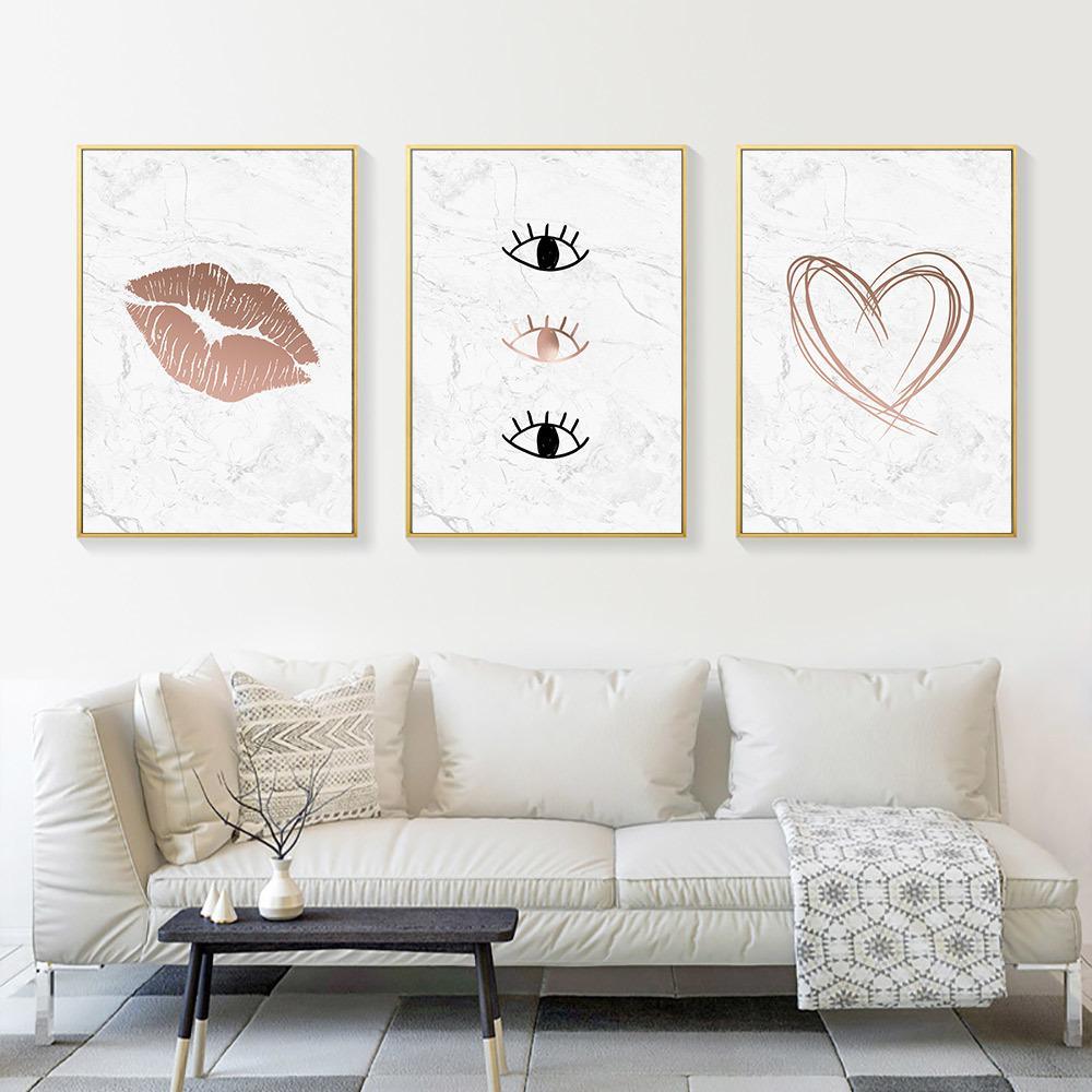 Özet Mermer poster Pembe Altın Tuval Aşk Gözler Dudaklar Posterler Ve Baskılar Tuval Resimleri İçin Salon Duvar Boyama Boyama