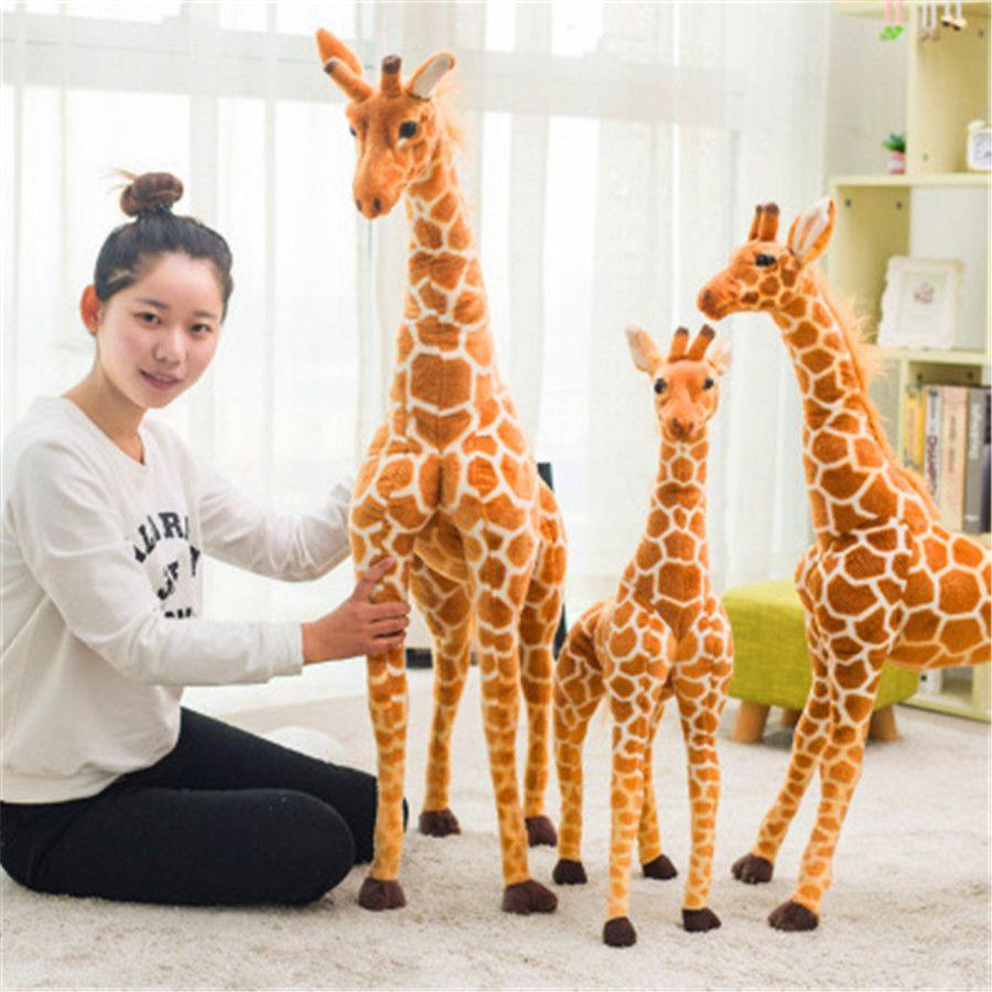 Enorme Real Life Giraffe Plush Toys animal bonito Stuffed Dolls macio Simulação Giraffe boneca de alta qualidade Toy Crianças Presente de aniversário