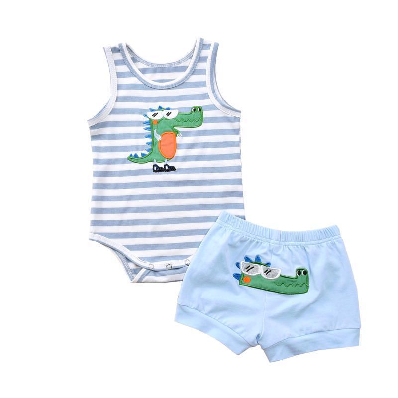 2020 Verão Criança Bebés Meninos Outfit em torno do pescoço sem mangas dos desenhos animados Crocodilo Imprimir Listrado Romper + Shorts Set 0-24M roupa