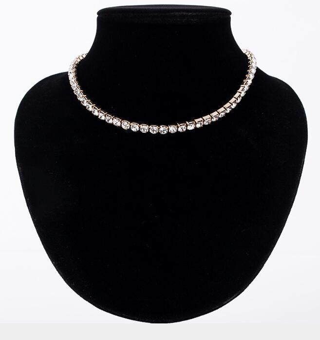 Le donne di cristallo strass completa collare collana a catena fuori ghiacciato Catene tennis collane del Choker per monili delle donne cerimonia nuziale della ragazza di trasporto