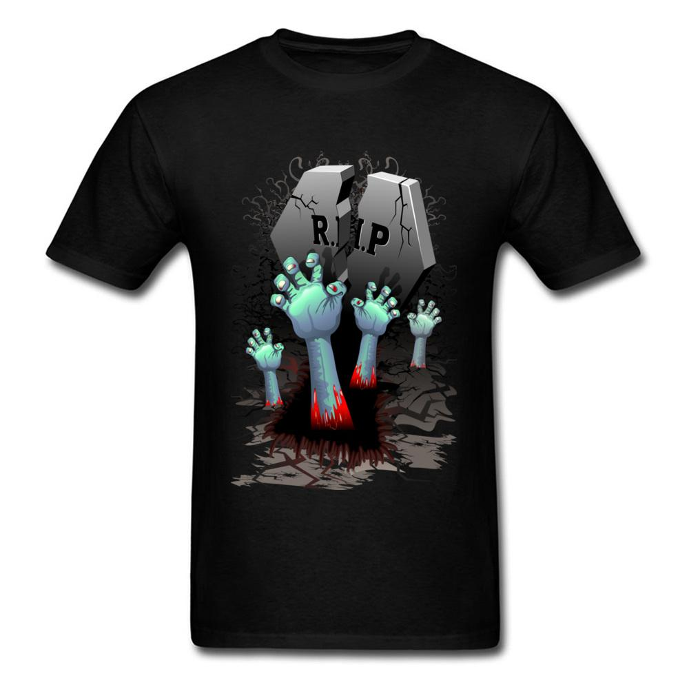 Zombie Hands On cimetière 2020 Halloween Party T-shirt homme ados Hauts T-shirts noir 3d Cartoon design à manches courtes