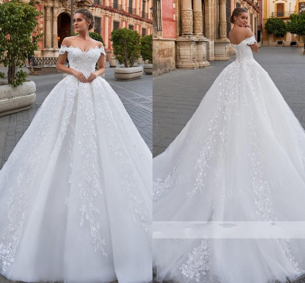 Discount Off Shoulder Lace Up Wedding Dress Beaded Appliques Lace ...