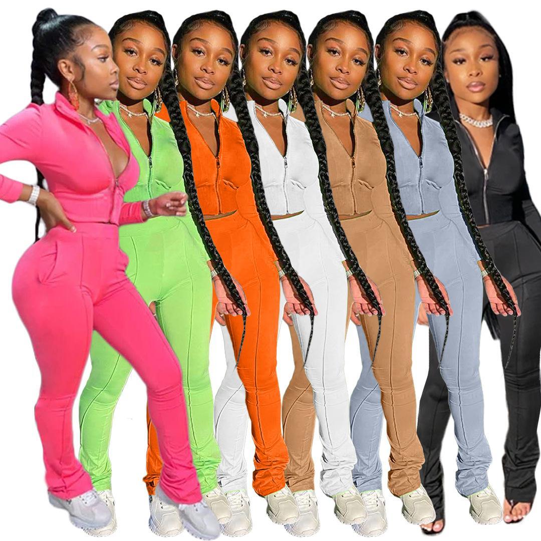 2020 Herbst neue weibliche feste lange Hülsen-beiläufige Tracksuits Mode Reißverschluss-Jacken-Sportwear Pants Sets Clubwear Outfits Zweiteilige Frauen