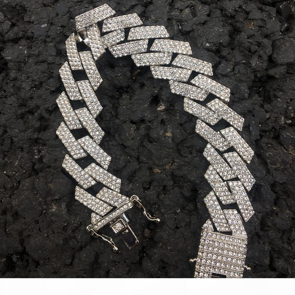 2cm Hip Hop Altın rengi buzlu Out Kristal Miami Küba Zincir Altın Gümüş Gerdanlık Bilezik Seti Sıcak Satış Hip Hop Kral J190721