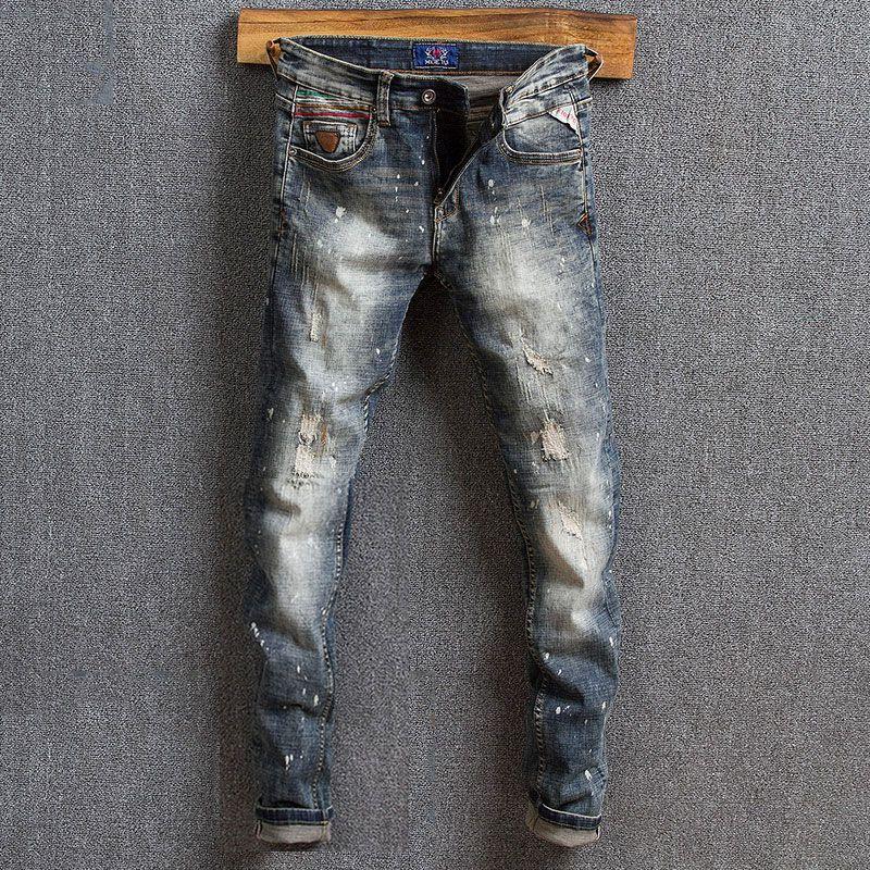 Новые Мода Мужские джинсы Лучшие качества ретро Wash краска дизайнер Лоскутная Slim Fit рваные джинсы Мужчины Streetwear Hip Hop Homme