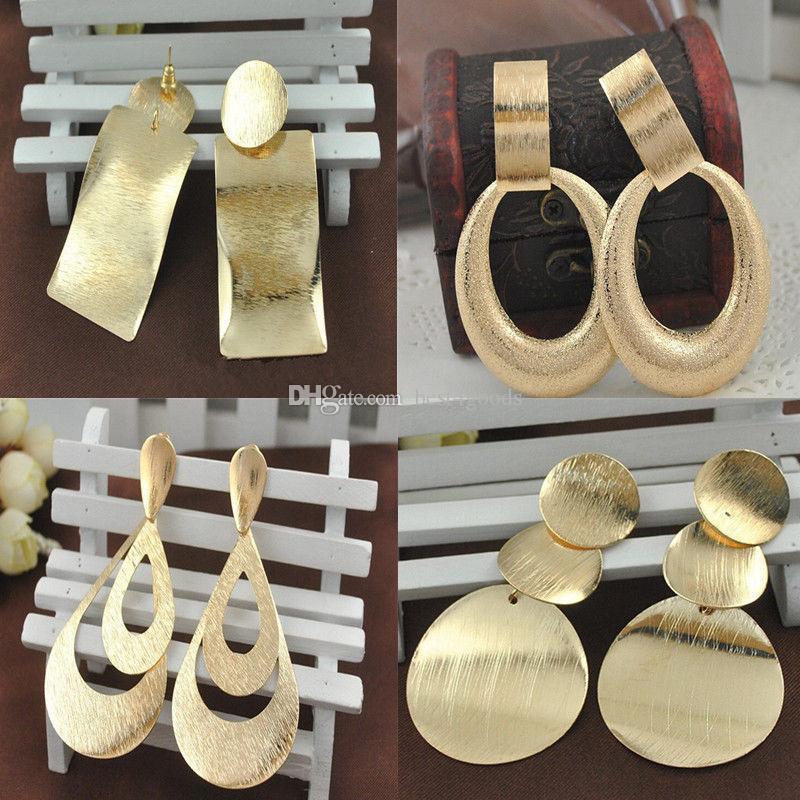 NUEVA llegada oro cuelga los pendientes Europea y los pendientes de gota grande de América simple de la manera joyería del oro 18K plateado de metal