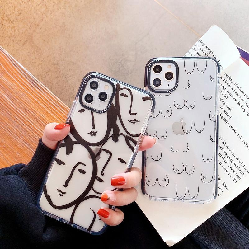 Iphone 11 Case Art Sketch Защита Прозрачный Clear Кремний для IPhone 11 Pro MAX X XS XR 7 8 6S Plus Simple Мягкая обложка 2020