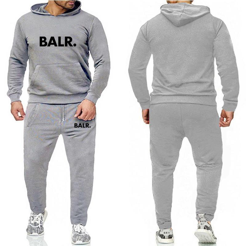 Мода работает Mens конструктора BALR костюмы спортивной костюм мужской балахон + брюки случайные высокого качества куртка 20SS женщин из двух частей s-3xl