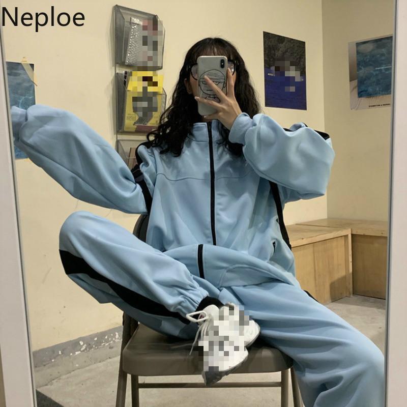 Neploe 2 Piece Set Женщины Solid Stand Collar с длинным рукавом + Stretch перетяжки Ноги длинные брюки Мода повседневные костюмы 49890 T200722