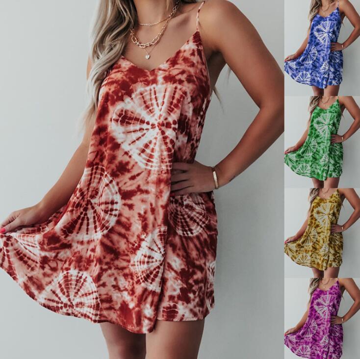 Le donne del progettista dei vestiti estate sexy scollo a V stampa floreale di Boho Beach Abito senza maniche Gonna Bretelle Una linea mini vestito da 6 colori S-5XL
