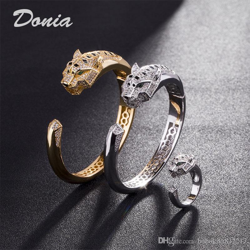 Regalo anillo de la pulsera de Donia La moda de Europa y la exageración de la moda estadounidense Animal clásico micro incrustaciones de zirconia pulsera anillo conjunto las mujeres