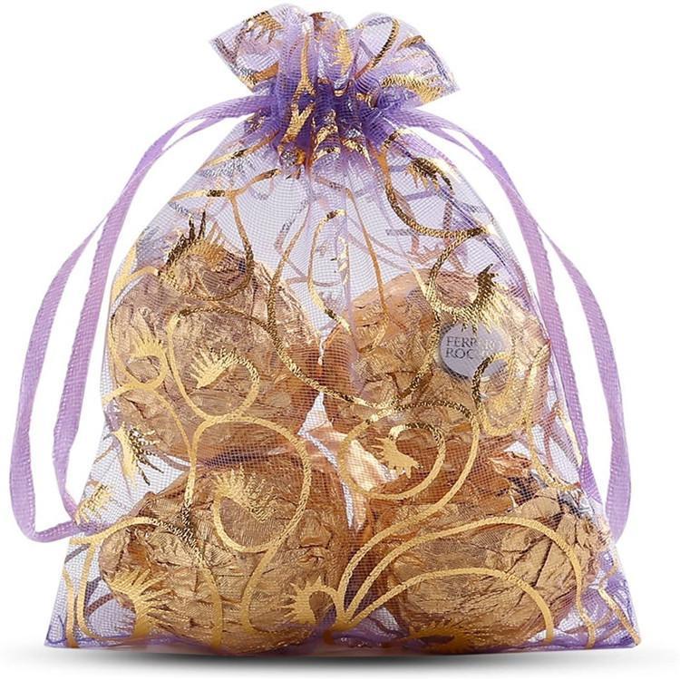 100 unidades / lote 7x9cm PESTANA Organza favor com cordão Bolsa 4SIZES jóia do casamento Embalagem Pouches, presente agradável fábrica de sacos