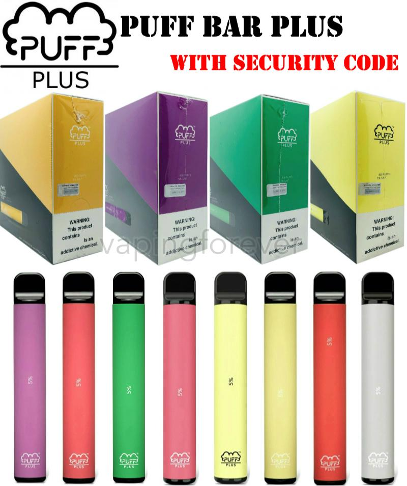 New Packaging PUFF BAR PLUS 800 Puffs Disposable Stick Pen 550mAh Battery 3.2ml Pre-Filled Vape Carts Pods e Cigs Portable Vaporizer Device