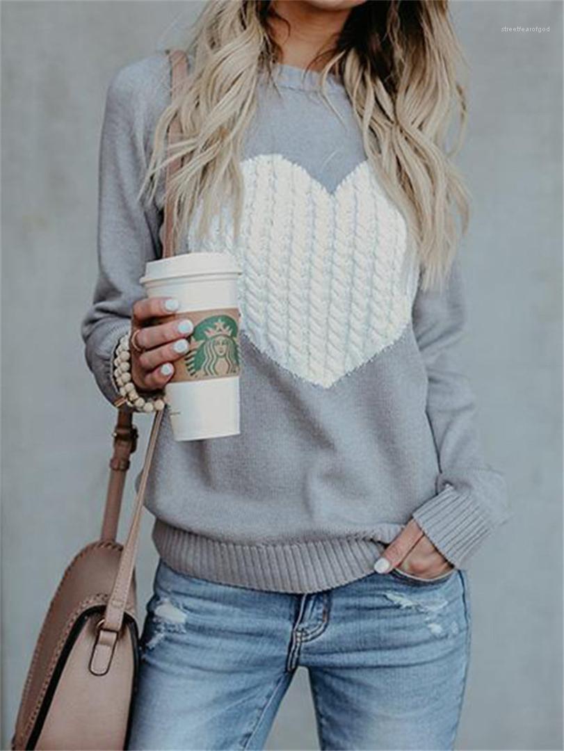 Pullover Langarm-lose O-Ansatz Frauen-Oberseiten-beiläufige Pullover stricken weiblich Pullover Liebe der Frauen