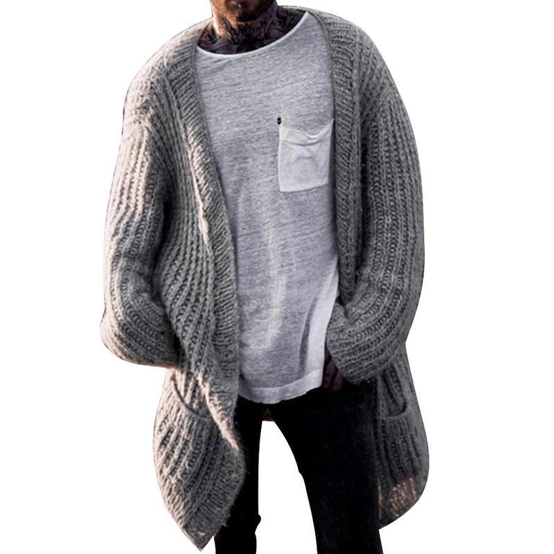 Трикотажное Кардиган Мужчины Длинные Стиль Негабаритные свитера пальто 2020 Streetwear свитер куртка Мужчины Повседневная Зимние свитера Одежда