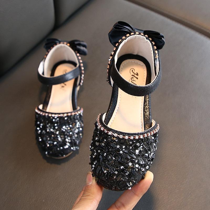 2020 meia sandálias sandálias princesa das crianças das crianças sapatos das meninas sapatos de couro novas estilo coreano strass suaves Bottom Girls