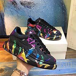 2020 zapatos ocasionales de las mujeres de los hombres para hombre de estilo de vida diario monopatín zapato de cristal inferior de la plataforma de moda Caminar Formadores Negro brillo Shinn VV2