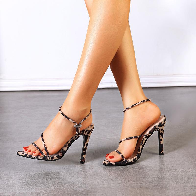 Women's Sandals Slim Heel Super High Heel Leopard Print Low Top Rubber Sole Pointed Suede Fashion Simple Personality European and American