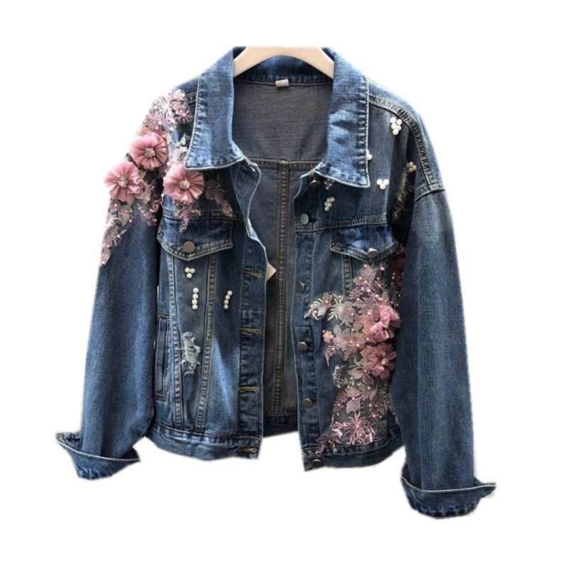 Brasão Casacos Buraco Básico de Moda Beading Jeans JAQUETA Brasão Mulheres New Stereo rosa Denim Flower Jacket Autumn Lady
