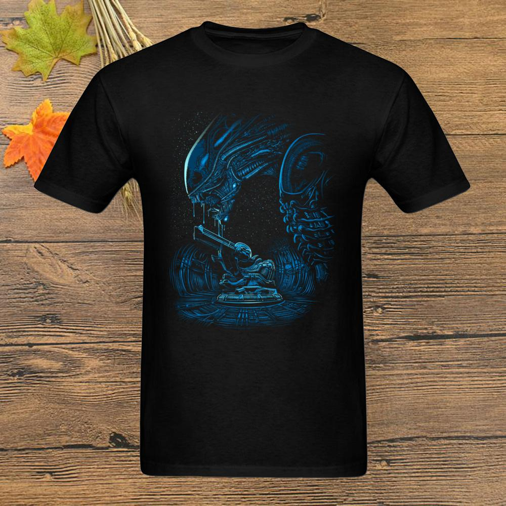 Raum-alien-T-Shirt Kühles schwarze T-Shirt Kalter Stil Männer Sommer gedruckte Karikatur-T-Shirt Universe Kleidung Geek Tops 80er-T-Shirts